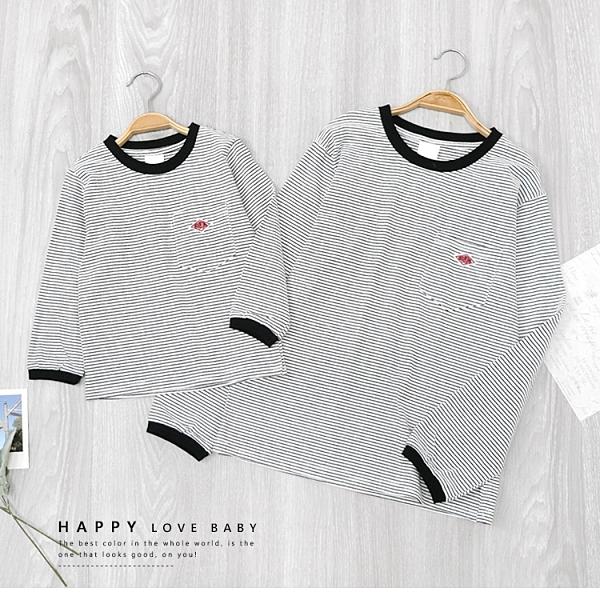 小童 親子裝 純棉 韓版簡約織標口袋細條紋上衣 縮口 百搭 黑白 休閒 文青 童裝 女童裝 男童裝