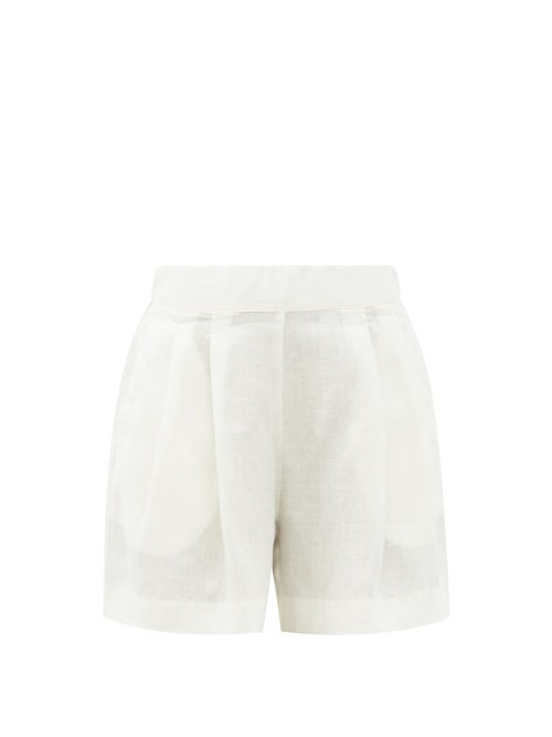 Asceno - Zurich Pleated Organic-linen Shorts - Womens - Light Yellow