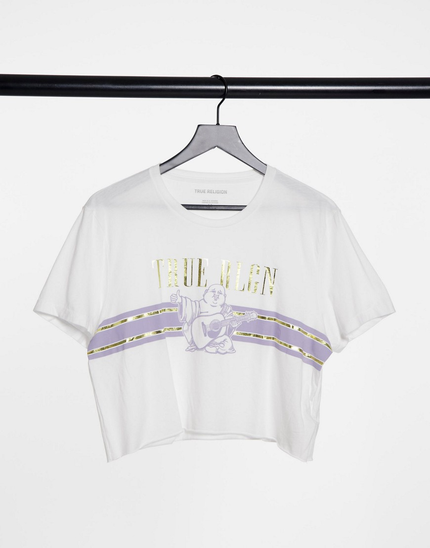 True Religion buddha graphic print cropped t shirt in white