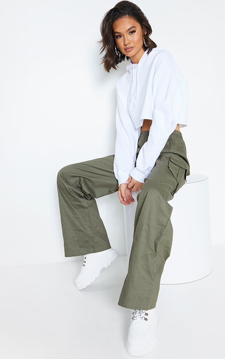 Khaki Wide Leg Cargo Pants