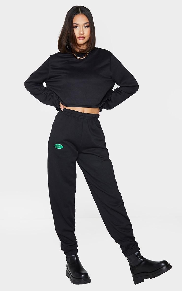 PRETTYLITTLETHING Black Sport Logo Track Pants