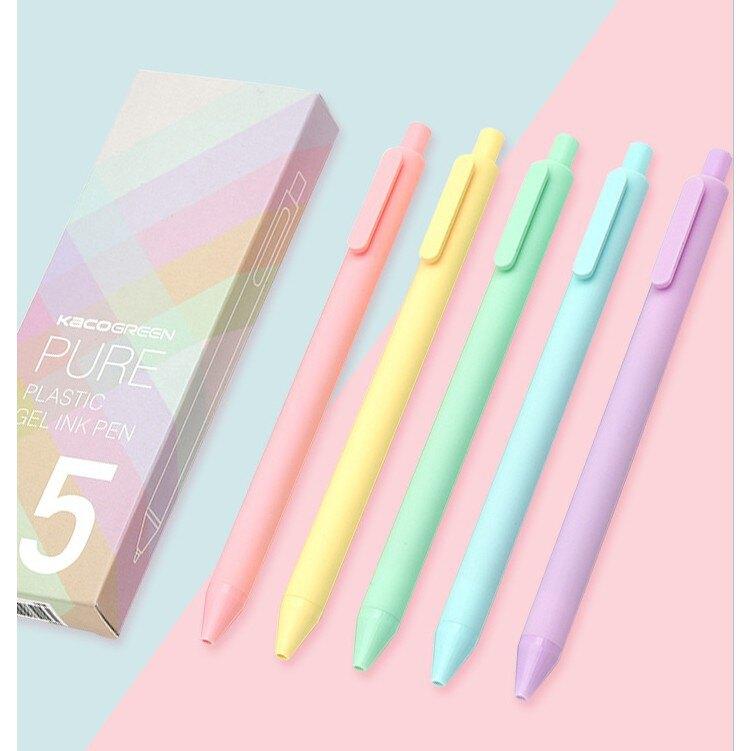 BBUY 馬卡龍色中性筆 五支裝0.5mm 黑色 原子筆  彩桿黑芯 綠黃粉紫藍色 ins風 少女心 文青文具