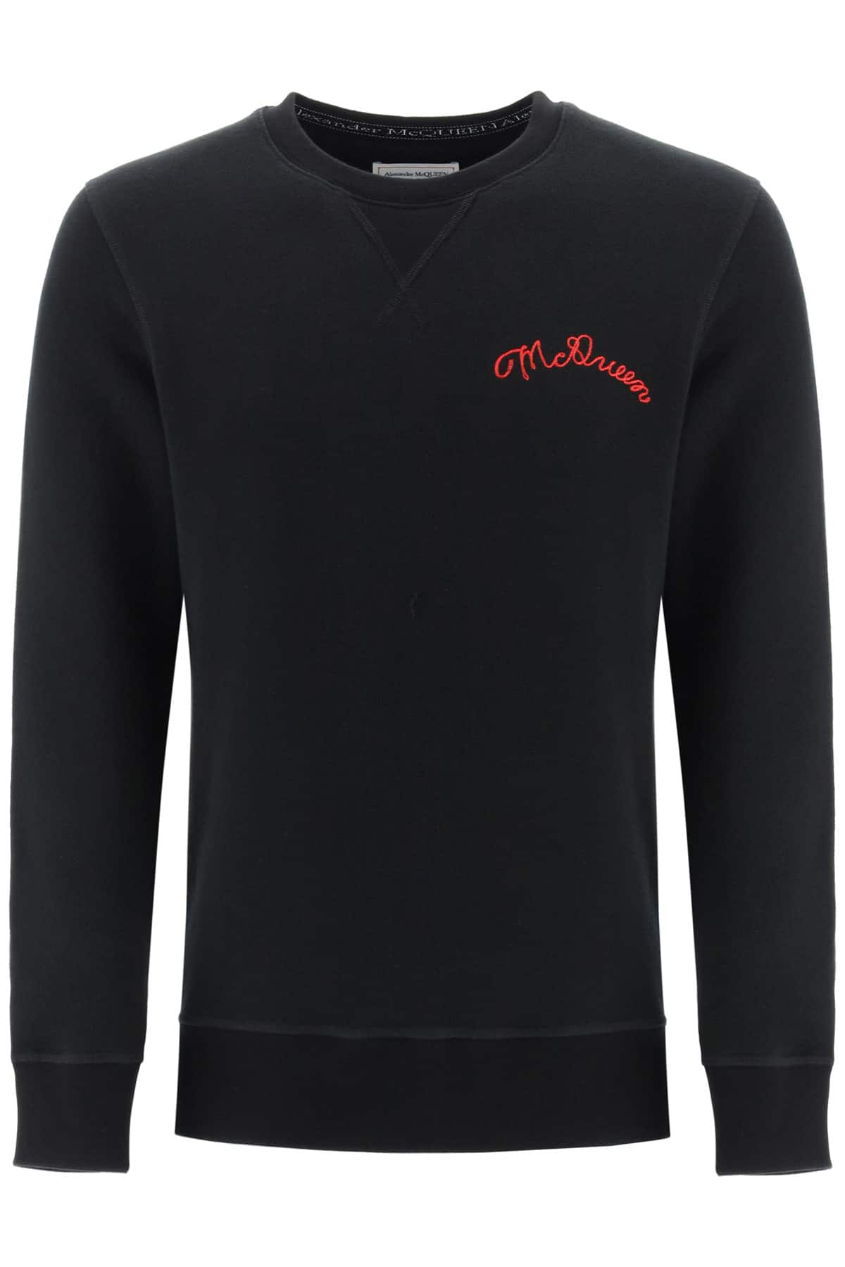 ALEXANDER MCQUEEN SWEATSHIRT WITH LOGO EMBROIDERY L Black Cotton