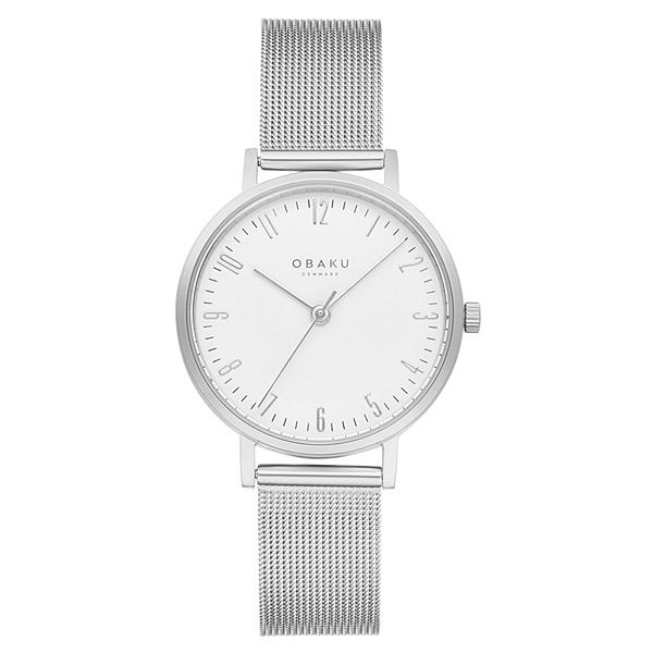 OBAKU 城市探索淑女時尚腕錶-銀X白