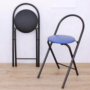 【頂堅】鋼管(PU泡棉椅座)折疊椅/餐椅/休閒椅/露營椅(二色可選)黑色