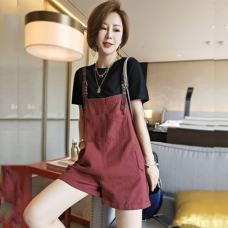 新款時尚/韓版休閑時尚套裝女小個子夏裝搭配中短背帶褲顯高洋氣減齡兩件套
