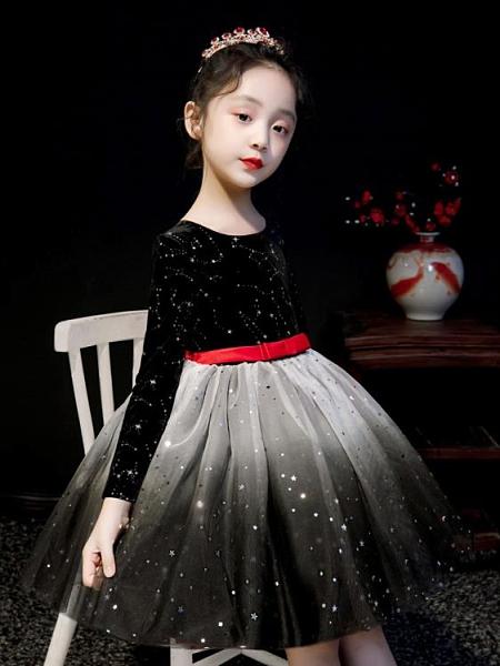 女童禮服秋冬花童洋氣蓬蓬紗裙加絨兒童公主裙聖誕節女孩連衣裙冬米希美衣