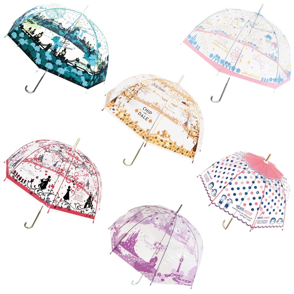 現貨日本卡通圓罩透明長柄傘59cm-綜,雨傘/雨具/大人雨傘/透明雨傘/兒童雨傘/果凍傘,X射線【C040560】