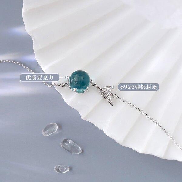 手鍊 925純銀藍色泡沫魚尾手鍊網紅森系小 設計ins閨蜜女漸凍人冷淡風