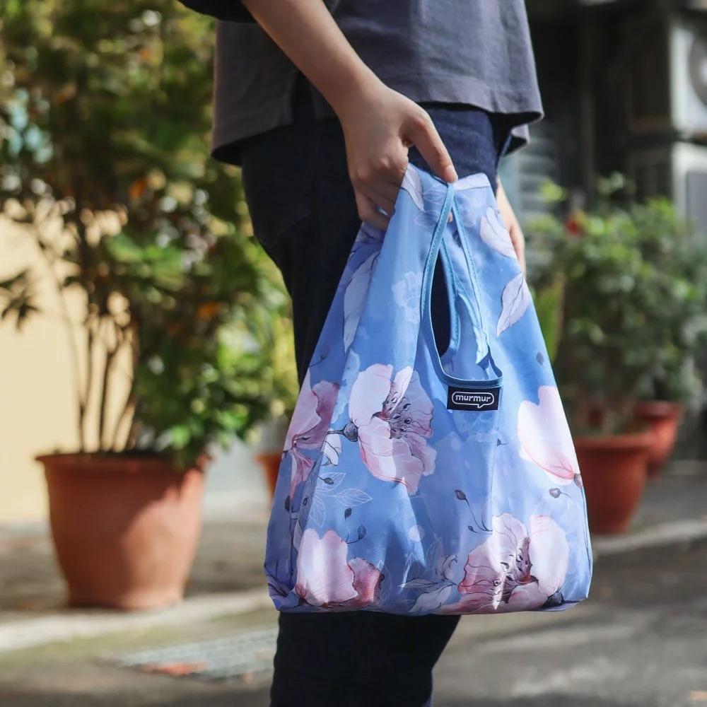 ﹝三代﹞murmur 粉藍花 便當袋 摺疊購物袋 購物袋 手提袋 飲料袋 收納袋 隨身購物袋 小購物袋 外出袋