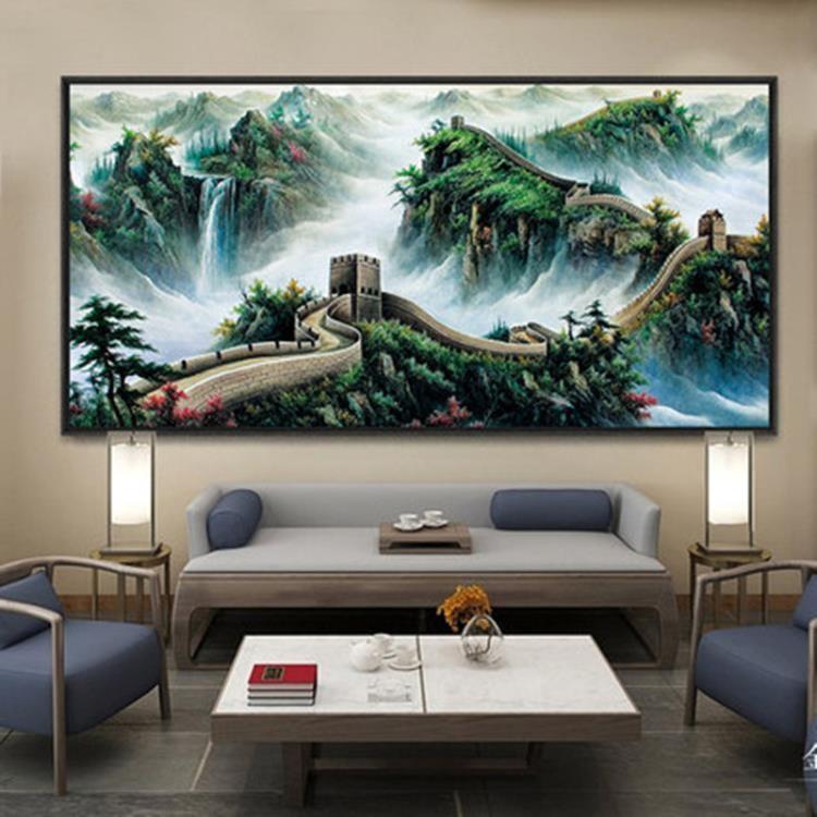 新款上架8折起~ 萬里長城大幅客廳飾畫風水靠山書房會議室壁畫沙發背景掛畫