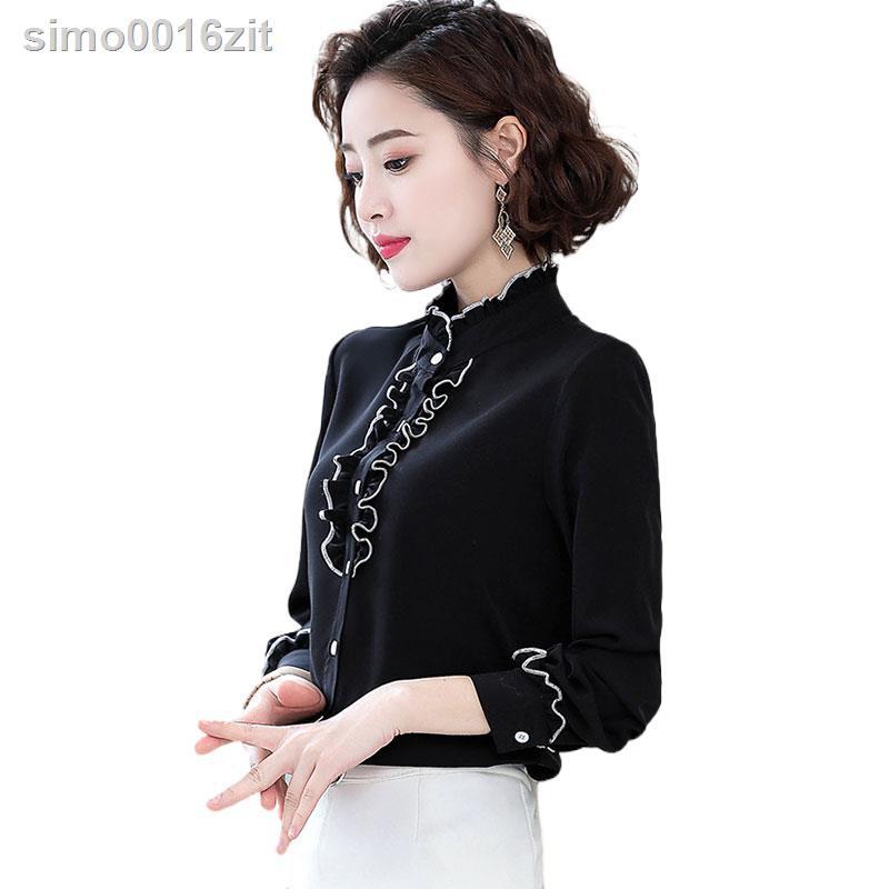 女▥黑色雪紡襯衫女2020年秋冬新款長袖時尚內搭上衣百搭洋氣打底