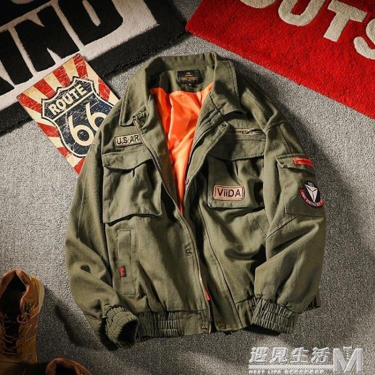 秋季空軍飛行員夾克男多口袋寬鬆翻領潮流工裝外套