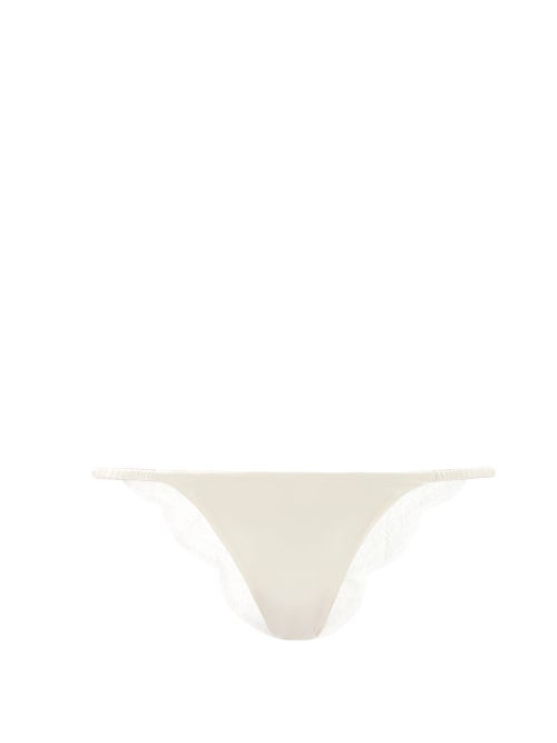 Carine Gilson - Lace-trimmed Silk-satin Briefs - Womens - Ivory
