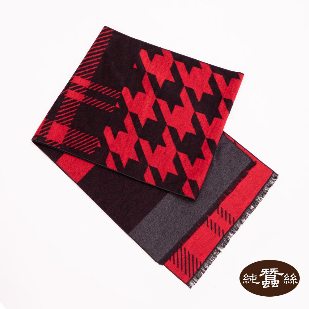 【岱妮蠶絲】純蠶絲保暖刷毛圍巾(紅千鳥格)