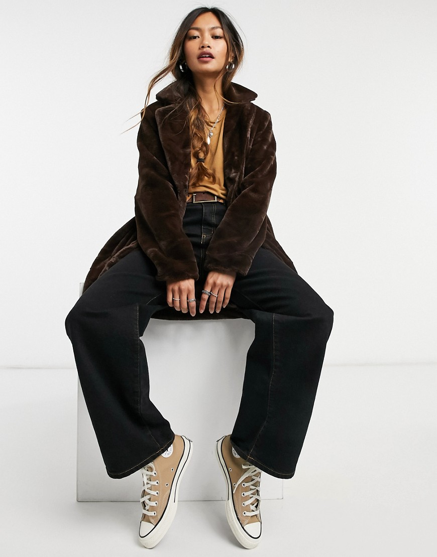 Object faux fur coat in brown