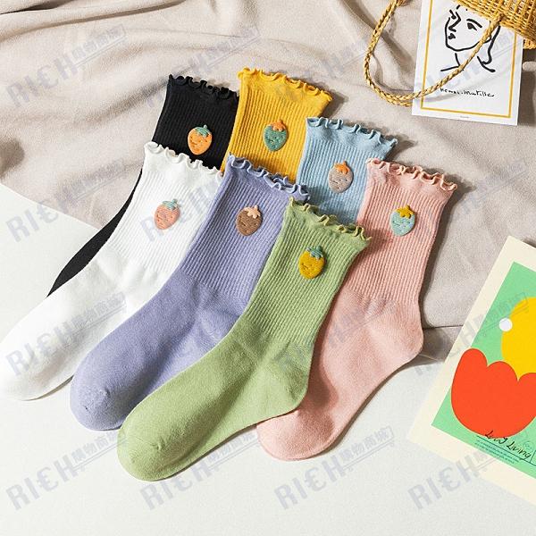 韓國ulzzang甜美可愛水果草莓中筒襪日系木耳邊花邊堆堆長襪子
