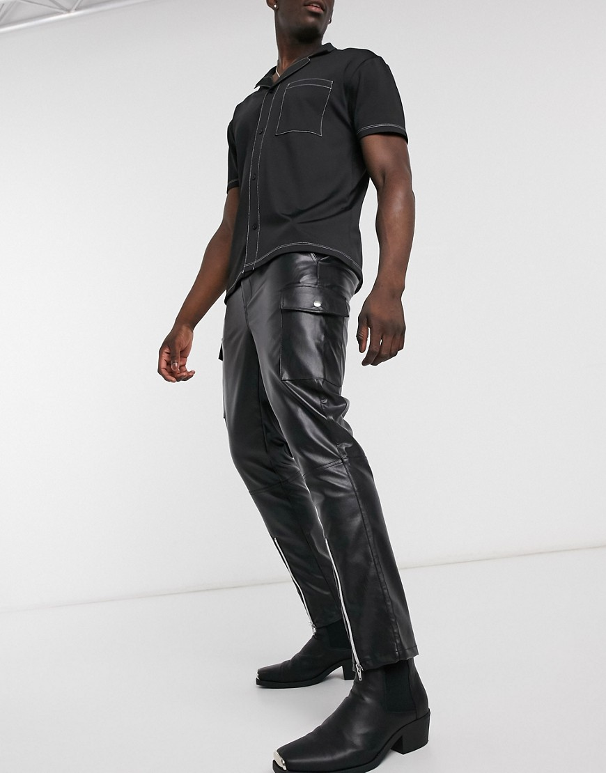 ASOS DESIGN tapered cargo trousers in faux leather with zips-Black