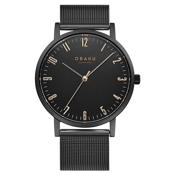 OBAKU 城市探索紳士時尚腕錶-全黑