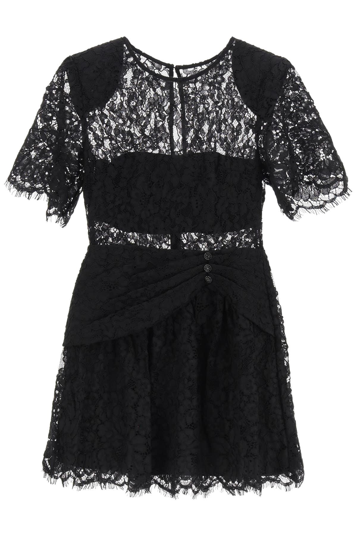 SELF PORTRAIT LACE MINI DRESS 10 Black Cotton