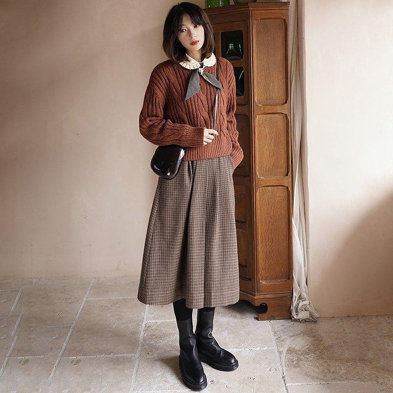 英倫風千鳥格壓褶松緊半身裙 裙子 秋冬款 羊毛混紡 Sora-627