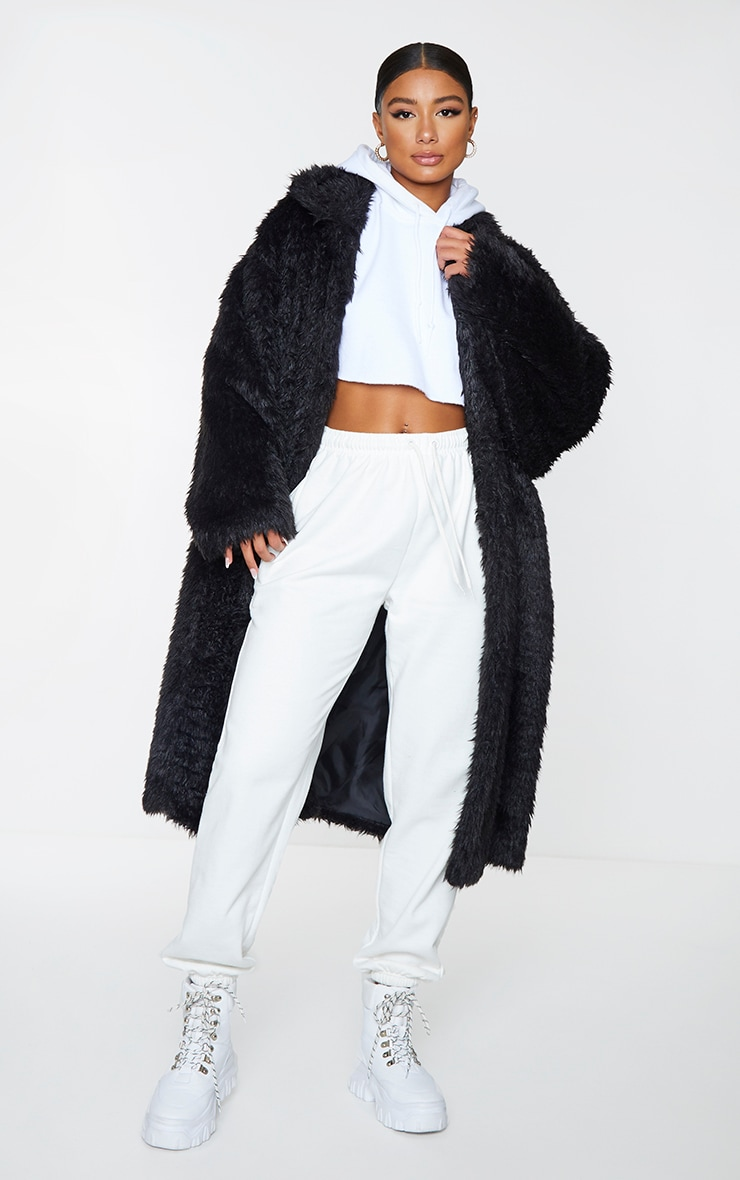 Black Long Shaggy Faux Fur Oversized Maxi Coat