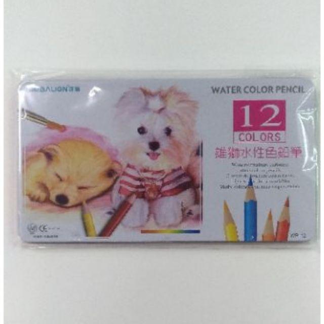 «CS洽興»雄獅 SIMBALION 色鉛筆 WP-12水彩色鉛筆/水性色鉛筆(12色/鐵盒)