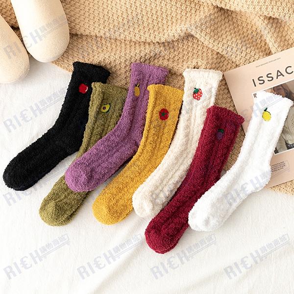 秋冬加厚保暖中筒襪子居家地板睡眠珊瑚絨水果刺繡毛巾襪月子襪