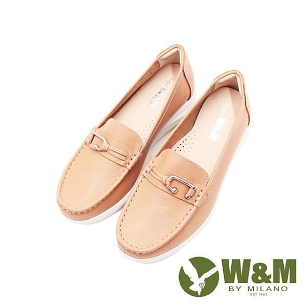 W&M C型釦式增高 樂福鞋 女鞋-奶茶棕(另有丈青藍)