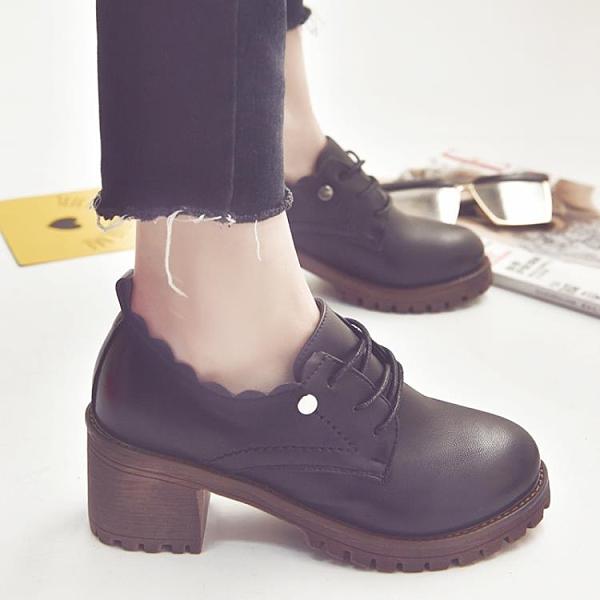 牛津小皮鞋女英倫風2021新款春秋冬季粗高跟韓版復古學院風百搭單鞋 3C數位百貨