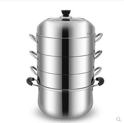 蒸鍋 蒸鍋原味蒸飯鍋不串味無孔蒸籠三層加厚不銹鋼家用 蒸鍋節能蒸鍋