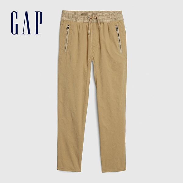 Gap男童 簡約風格鬆緊休閒長褲 594792-卡其色