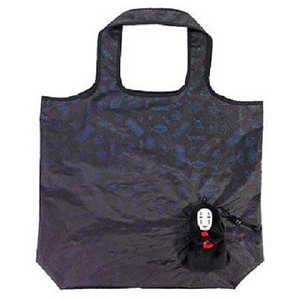 小禮堂 神隱少女 無臉男 折疊尼龍環保購物袋 環保袋 側背袋 手提袋 (黑) 4974475-81163