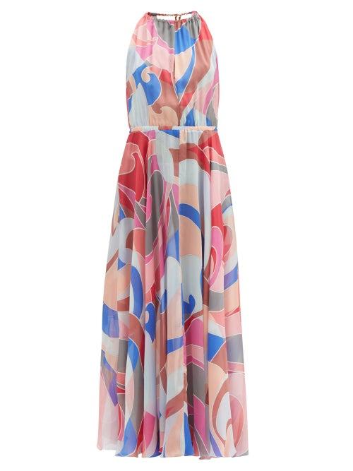 Emilio Pucci - Gathered Quirimbas-print Silk-chiffon Maxi Dress - Womens - Pink Multi