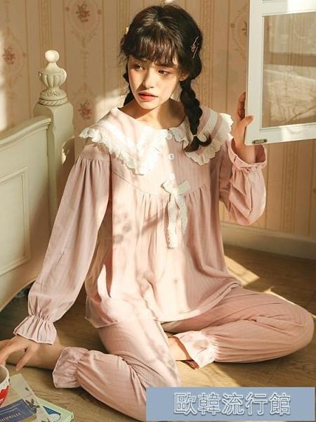 睡衣女 長袖睡衣睡衣女春秋純棉長袖韓版甜美可愛公主風秋冬薄款可外穿家居服套裝丨 歐韓