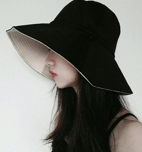 漁夫帽 正韓雙面純色漁夫帽女夏季冷淡風大檐盆帽百搭日繫遮陽防曬太陽帽