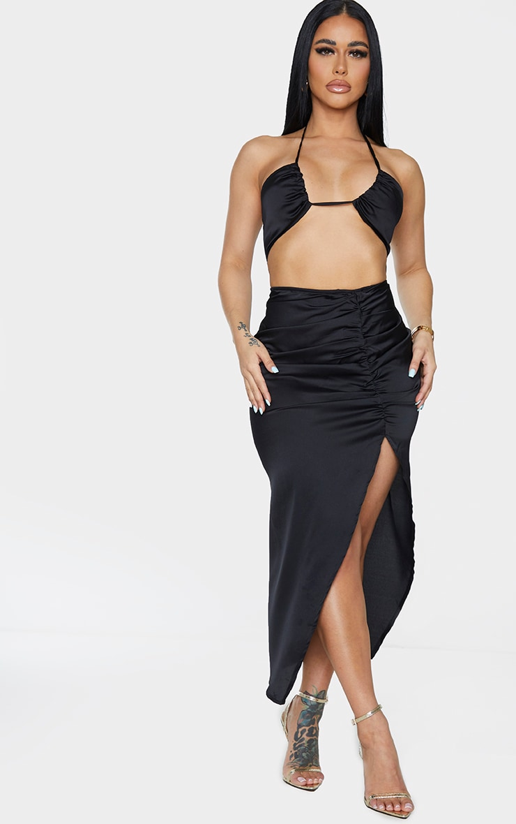 Shape Black Cut Out Ruched Detail Midi Dress