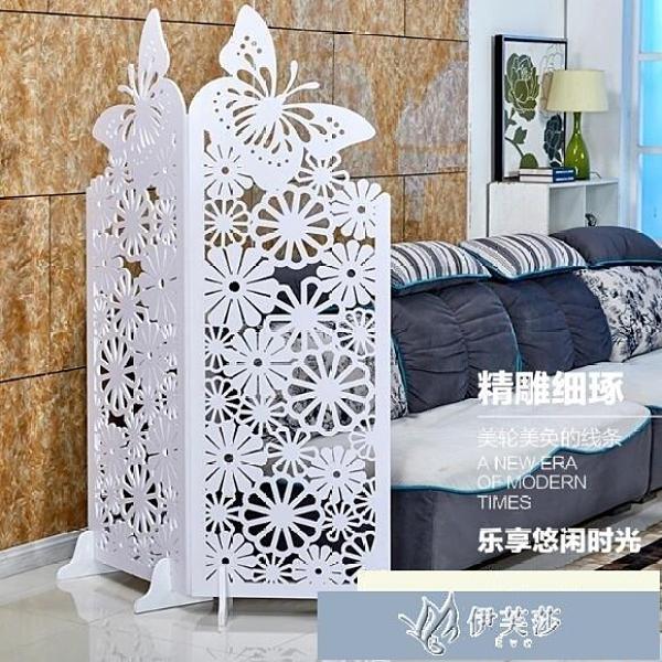 屏風 白色雕花折疊屏風隔斷玄關簡約時尚客廳櫥窗背景空蝴蝶屏風 YYS【快速出貨】