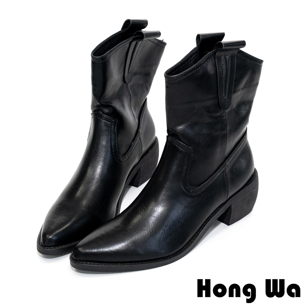 Hong Wa 紳士品格‧素面牛紋皮顯瘦尖頭騎士短靴 - 黑