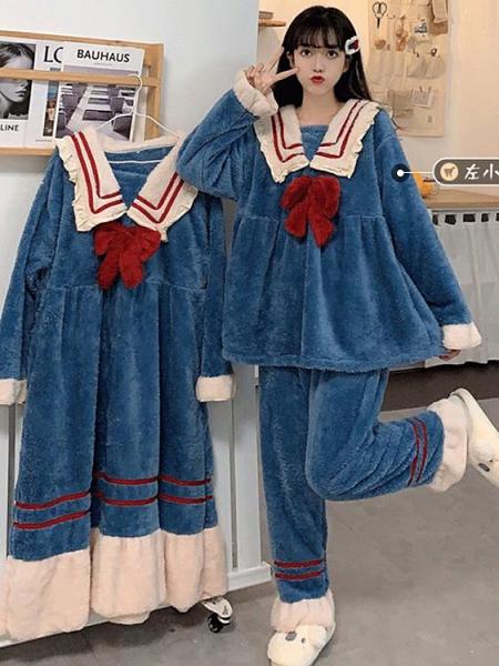 睡衣女秋冬外穿長款睡袍甜美加厚珊瑚毛絨套裝網紅可愛家居服睡裙 【雙十二下殺】