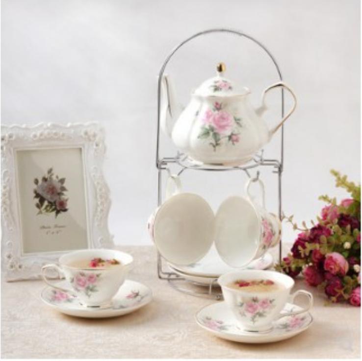 歐式陶瓷杯具杯子套裝英式下午茶家用咖啡具茶具結婚禮品送架