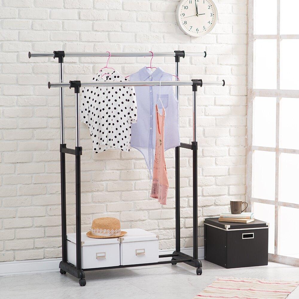 【悠室屋】H型雙桿衣架 伸縮長桿 衣架 可調整高度 360度滑輪設計樂天雙11購物節