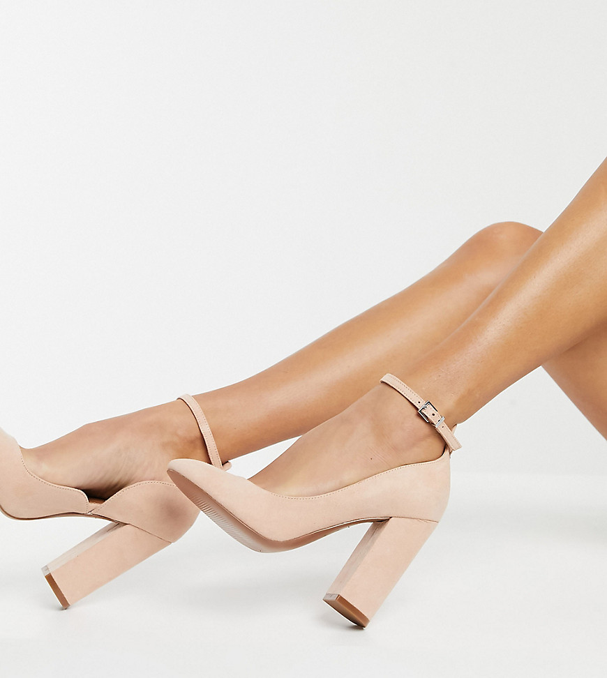 ASOS DESIGN Wide Fit Placid high block heels in beige-Neutral