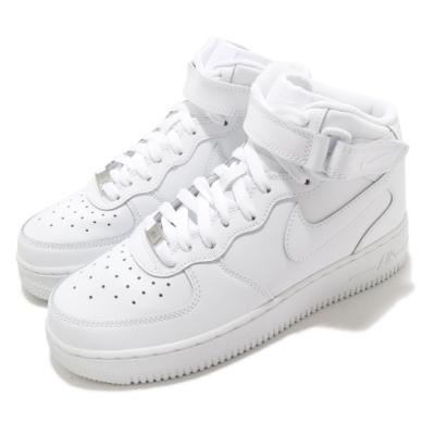 Nike 休閒鞋 Air Force 1 Mid 運動 女鞋 經典款 AF1 皮革 簡約 大童 穿搭 全白 314195113