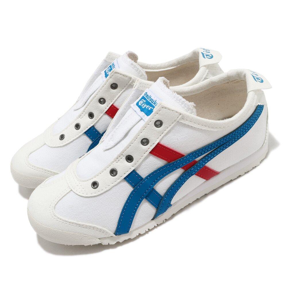 ONITSUKA TIGER 休閒鞋 Mexico 66 Slip-On 童鞋 OT 鬼塚虎 帆布 無鞋帶 穿搭 中童 白 藍 [1184A085100]