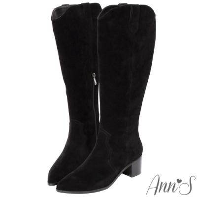 Ann'S窄版防水絨布-超修身V口顯瘦粗跟西部及膝長靴-黑