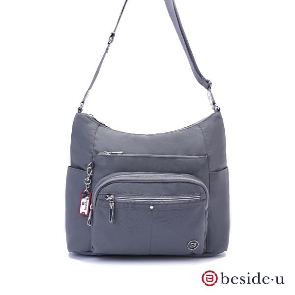 beside u BFYA 多夾層拉鍊斜肩包側背包 – 灰藍色 原廠公司貨