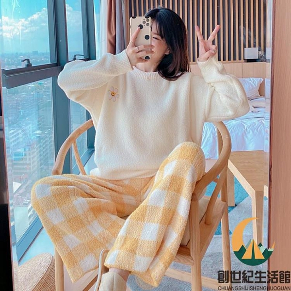 睡衣女秋冬長袖日系格子加厚珊瑚絨家居服套裝【創世紀生活館】