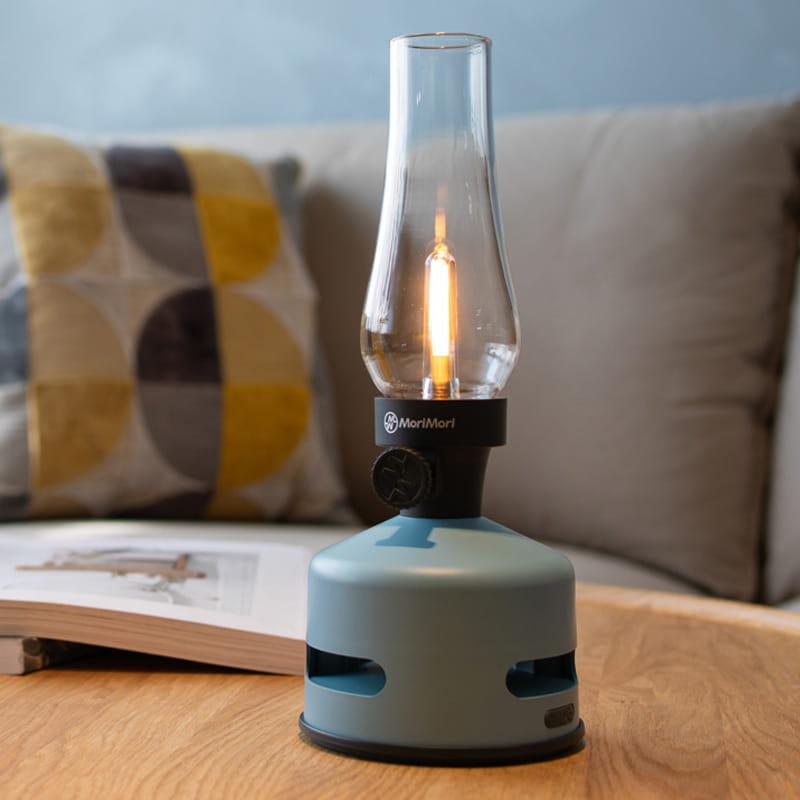 【MoriMori】戶外露營 LED煤油燈藍牙音響-藍色