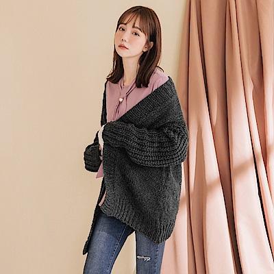 豐厚溫暖鄰家開襟長版質感針織羊毛外套-OB嚴選